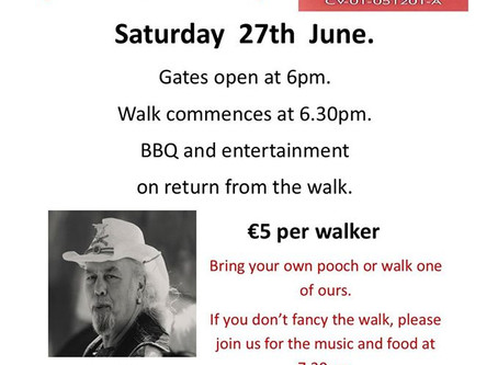 June charity walk, Sat 27th.