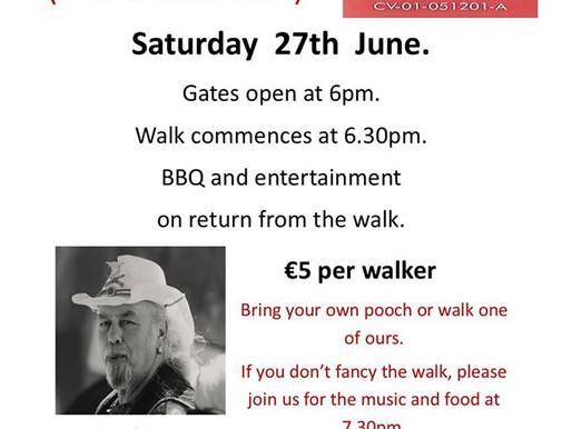 June charity walk, Sat 27th.