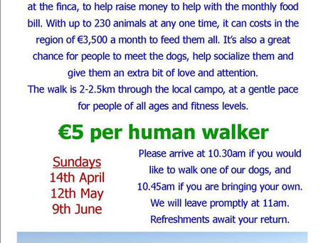 Next charity dog walk is Sunday 12th May.
