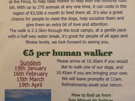 Our next Charity Walk is Sunday 16th Feb.
