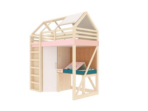 Кровать-домик со столом и шкафом