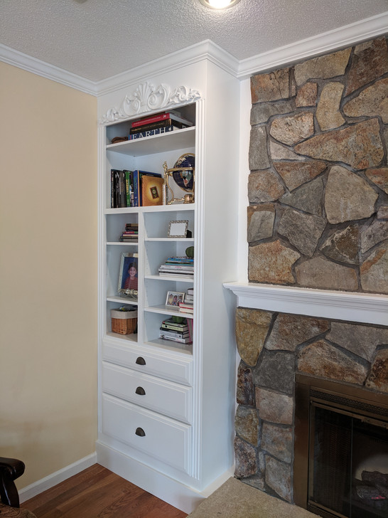 Built in Book Shelves with Drawers
