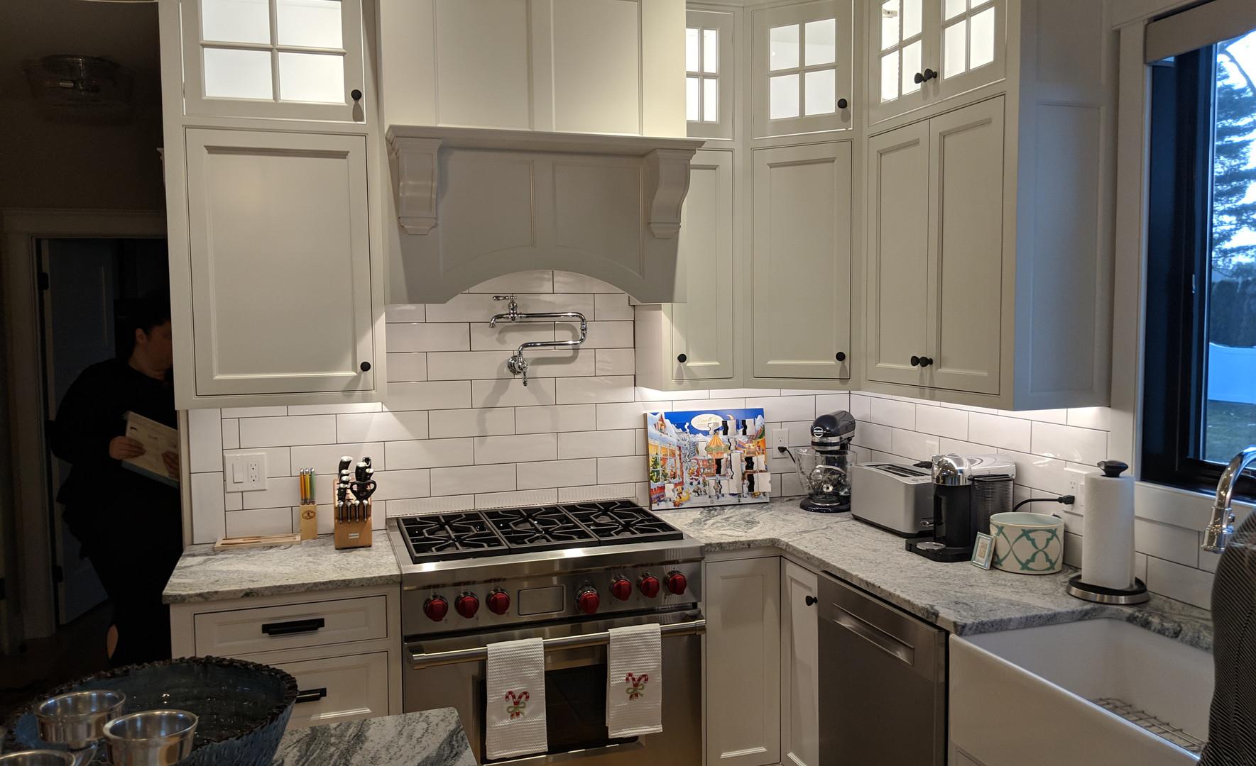 Subway Tile Backspash with White Kitchen