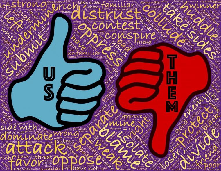 us yazan mavi bir el, baş parmak yukarıda ve yumruk sıkılmış. sağ da ise aynı el kırmızı ve baş parmak aşağı bakıyor üzerinde them yazıyor. arka planda ingilizce siyaset bilimi terimlerinin olduğu mor bir fon