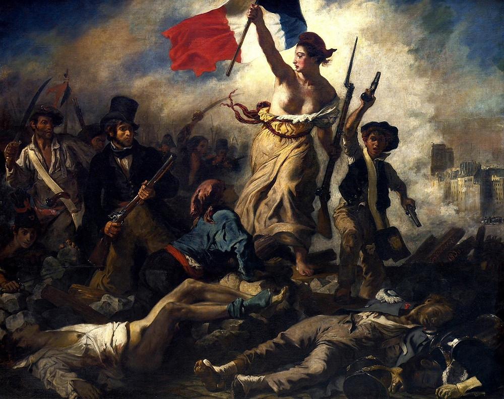 Resimde, özgürlüğü simgeleyen bir kadın, bir elinde Fransız bayrağı, diğer elinde ise bir tüfek taşıyarak yürümekte, peşinden gelen devrimci insanlara barikatları aşmada öncülük etmektedir. Elbisesi yırtıktır, göğsü ve ayakları çıplaktır, başında özgürlük simgesi olan Frigya başlığı vardır. Bir yanında yoksulları temsil eden, her iki elinde de birer tabanca taşıyan on-iki yaşlarında bir çocuk, öbür yanında burjuvaları temsil eden, eli tüfekli, başında silindir şapka olan bir adam vardır. Çatışma içindeki bir şehirde, yerdeki yaralıların ve ölülerin arasından geçmektedirler. Açıklama Wikipedia'dan alınmıştır.