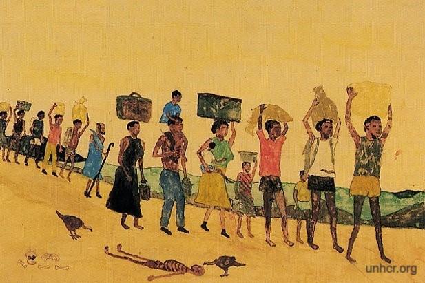 Resim  Sudanlı kadınalr başlarının üstünde su testileri çölde yürüyorlar, yerde ölü bir çocuk bedeni başında akbabalar