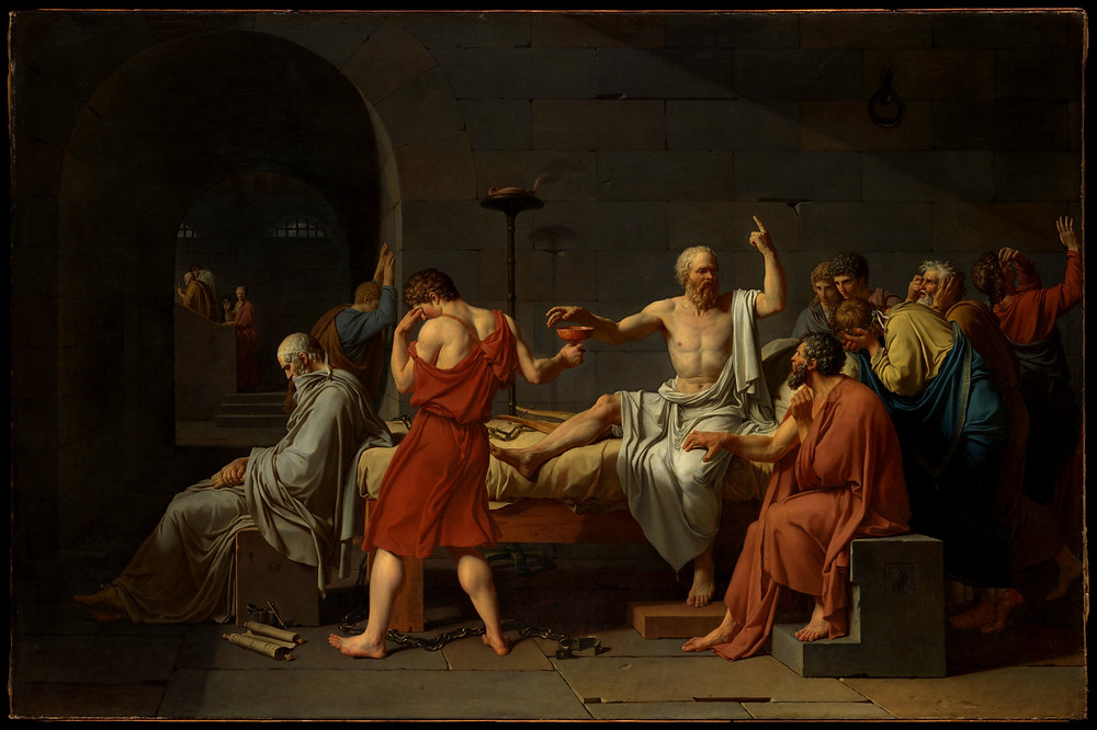 Bu tabloda, kırmızı elbiseli bir öğrencisi (Ya da müridi) baldıran zehrinin bulunduğu kupayı kendinden emin olan Sokrates'e uzatır. Sokrates'in göğü işaret eden eli, onun tanrılara duyduğu derin saygıyı ve ölümüne karşı korkusuz duruşunu gösterir. (Muhtemelen sanatçı Raphael'in Atina Okulu tablosunun merkezindeki sahneden etkilenmiştir.) Wikipedia'dan alıntıdır.