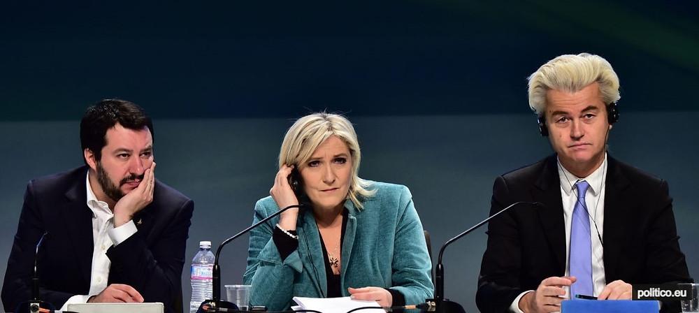 soldan sağa İtalyan Lig Partisi lideri Matteo Salvini, Fransa Ulusal Birlik Partisi lideri Marine Le Pen ve  Hollanda Özgürlük Partisi lideri Geert Wilders (soldan sağa)