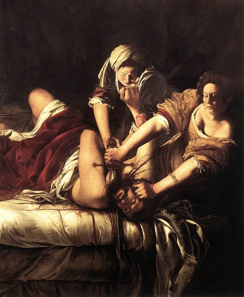 Figürler, sığ bir sahnede, teatral olarak yandan aydınlatılmış, mürekkep gibi siyah arka plana karşı izole edilmiş. Judith'in hizmetçisi Abra, Holofernes'in boynuna bir bıçak dayamak için kolunu uzatırken sağdaki metresinin yanında duruyor; karnı üzerinde yatarken, başını suikastçisine çevirirken boynu bükülmüş, savunmasızdır.