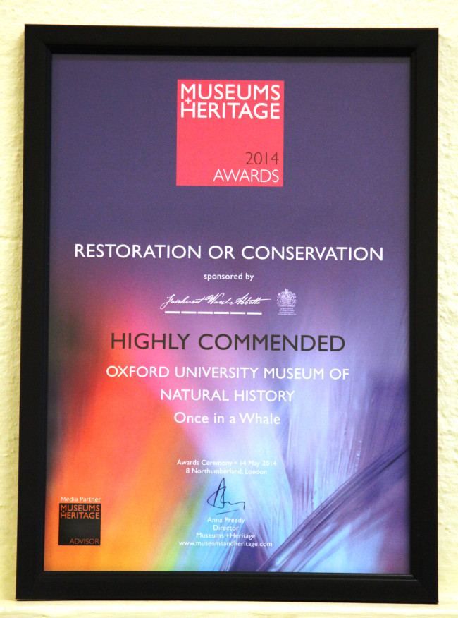 Awarded Highly Commended at the Museum and Heritage Awards 2014