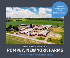 Pompey, New York aerial view of farm promoting 2021 Historical Society calendar sale.