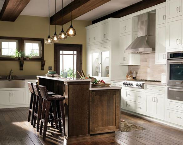 Stained island with white cabinets