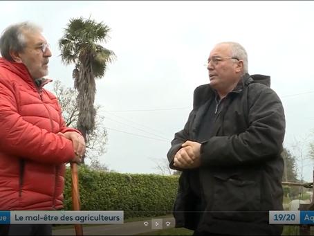 Olivier DAMAISIN et Patrick MAURIN sur FR3 Aquitaine: rapport sur le suicide des agriculteurs.
