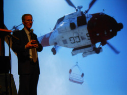 Mike on stage with helo