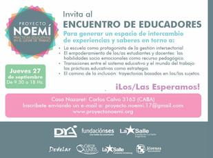 Proyecto NOEMÍ invita al ENCUENTRO DE EDUCADORES