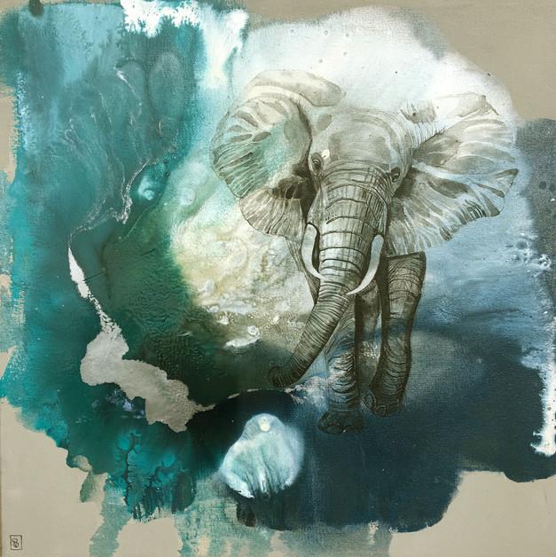 Elephant on blue #1