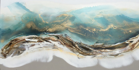 Turquoise and gold seascape