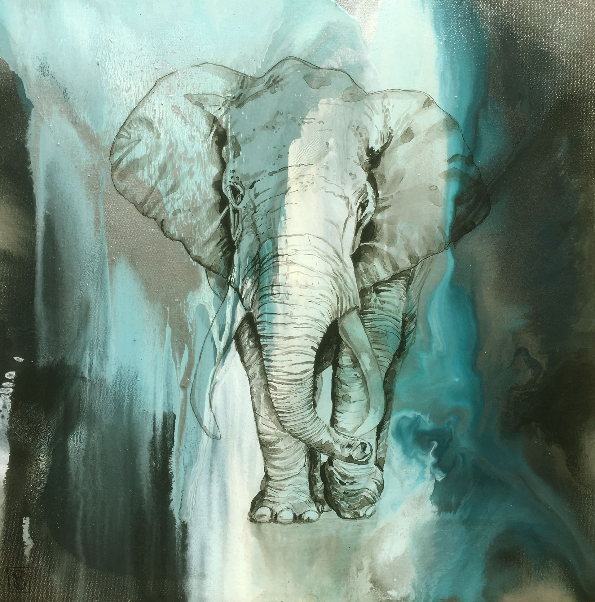 Elephant on blue #2
