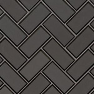 Metallic Gray Bevel Herringbone