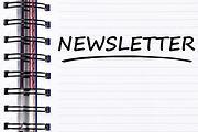 newsletter words on spring white note bo