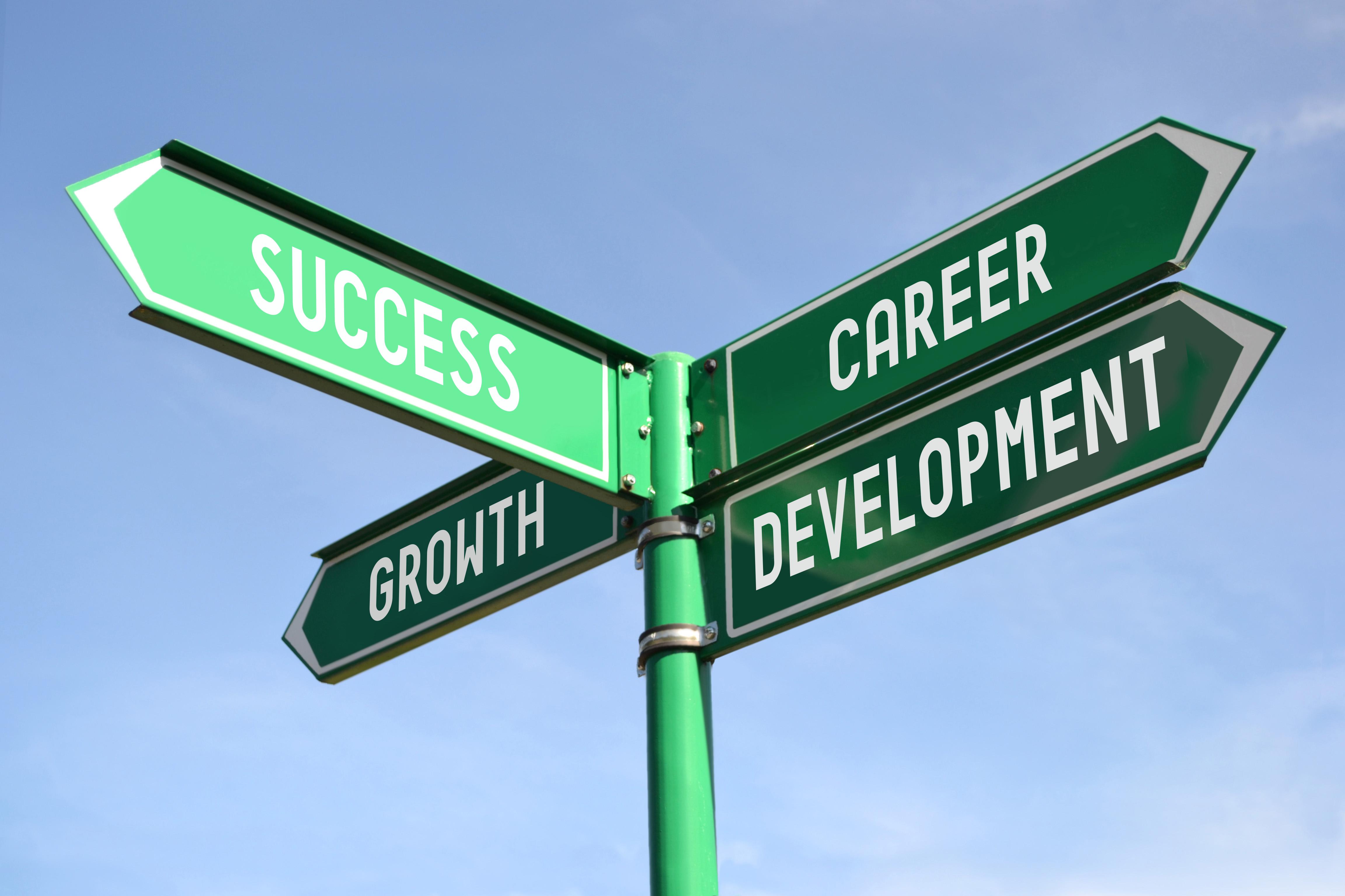 Success, growth, career, development sig