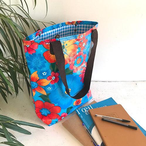 Tote Bag - Champs de Fleurs Bleu clair - intérieur Bleu