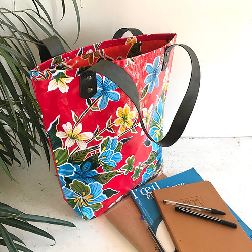 Tote Bag - Hibiscus Rouge - intérieur Orange
