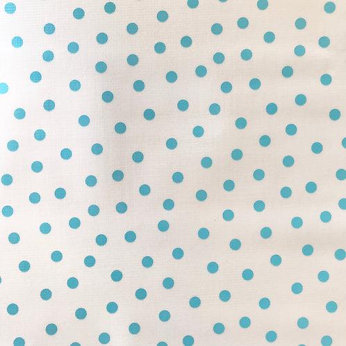 Toile Cirée en 120cm - POIS Bleu ciel - 10cm