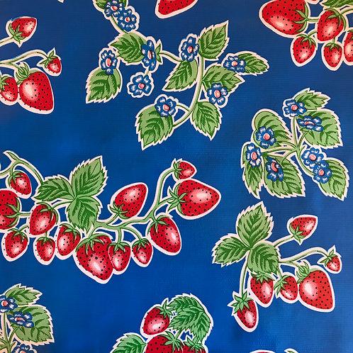 Toile Cirée en 120cm - FRAISES Bleu foncé - 10cm