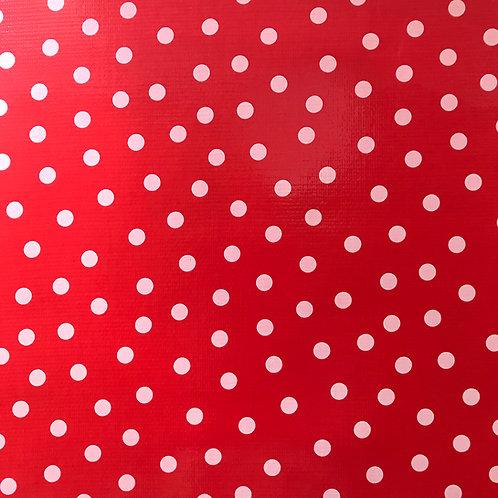Toile Cirée en 120cm - POIS Fond rouge - 10cm