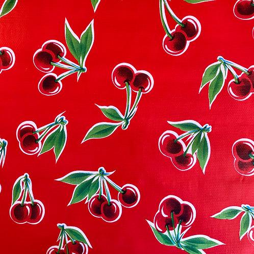 Toile Cirée en 120cm - CERISES Rouge - 10cm