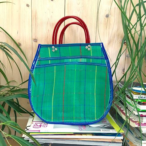 Cabas M - Carreaux Vert/Bleu