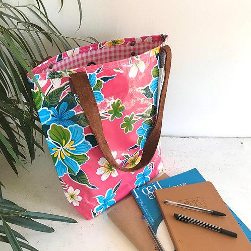 Tote Bag - Hibiscus Rose - intérieur Rose