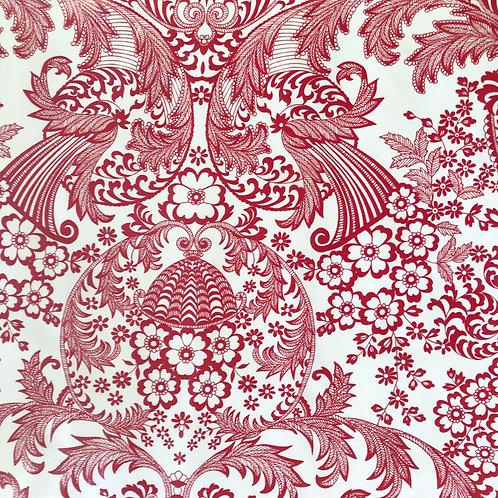 Toile Cirée en 120cm - ARABESQUE Rouge - 10cm