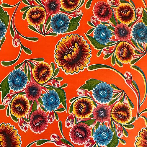 Toile Cirée en 120cm - OEILLETS Orange - 10cm