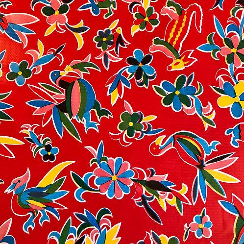 Toile Cirée en 120cm - ANIMAUX Rouge - 10cm