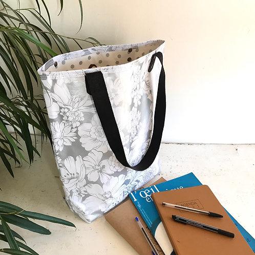 Tote Bag - Fleurs Blanches Argent - intérieur Argent