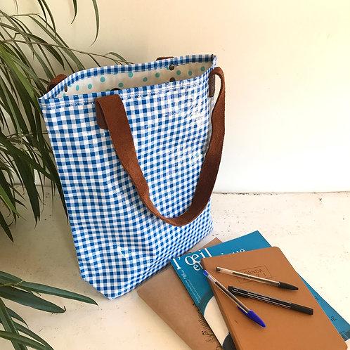 Tote Bag - Vichy Bleu - intérieur Bleu clair