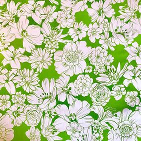Fleurs Blanches Vert Pomme