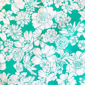 Fleurs Blanches Vert d'eau