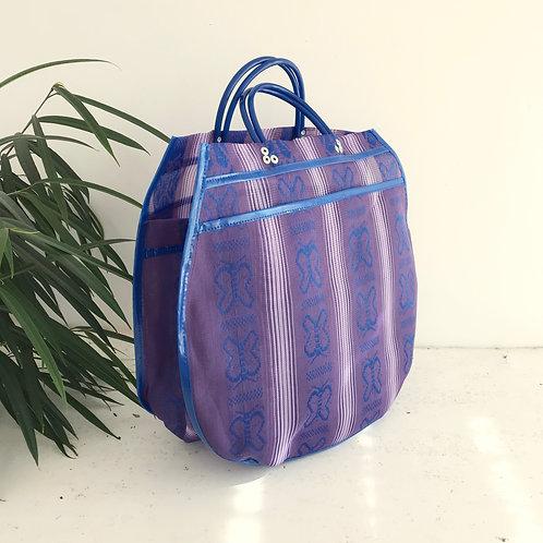 Cabas XL - Papillons Violet/Bleu Marine