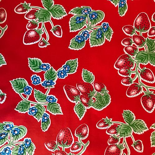 Toile Cirée en 120cm - FRAISES Rouge - 10cm