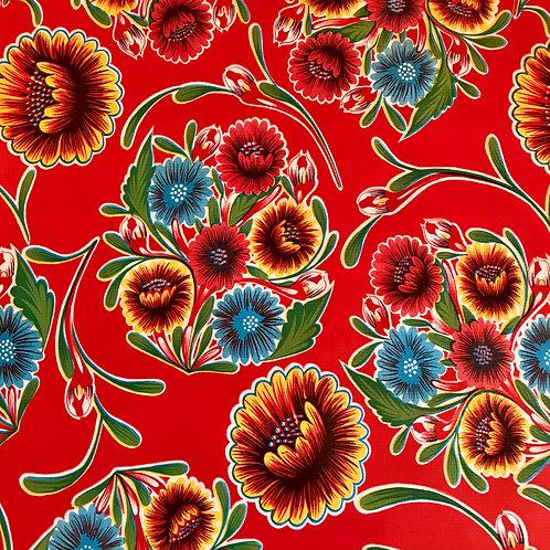 Toile Cirée en 120cm - OEILLETS Rouge - 10cm