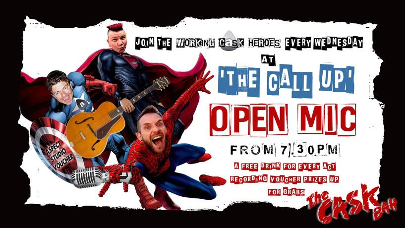 working cask super heroes open mic.MATTm