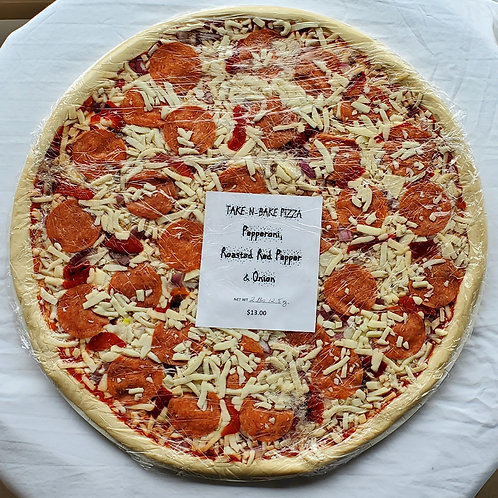 """16"""" Pepperoni, Roasted Red Pepper & Onion Pizza"""