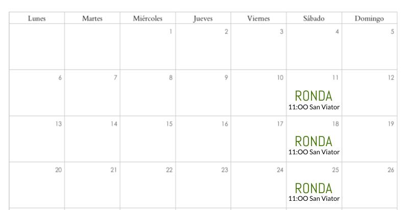 Calendario 2º Trimestre