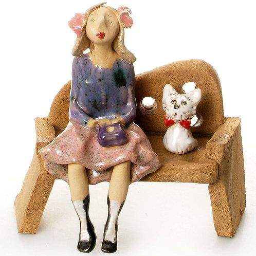 Lady on Bench - Pink/White Dog