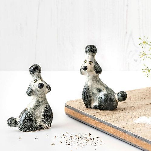 Poodle Salt & Pepper Shaker Grey