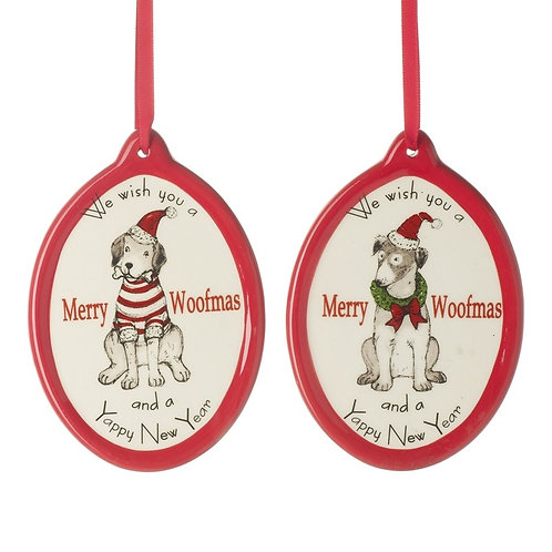 Merry Woofmas Ceramic Tree Hanging Dec