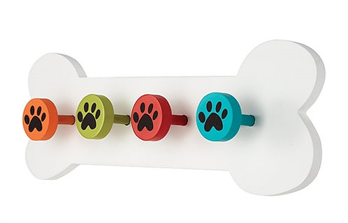 White Bone Wooden Dog Lead Holder
